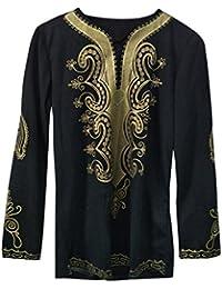 MEIbax Herren Hipster Hip Hop Afrikanische Dashiki Grafik Langarm Top Shirts  Afrikanisch Stil Tribal Hemd Lang 0dd3bf1619