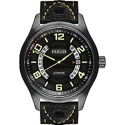 PARNIS Herren Fliegeruhr 3244 PVD schwarze Automatikuhr Saphirglas Datumsanzeige 10BAR massiv Edelstahl Ø43mm Miyota Uhrwerk