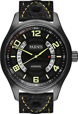 PARNIS Homme Montre d'aviateur 3244PVD noir montre automatique Verre Saphir 10bar affichage de la date acier inoxydable massif Ø43mm Miyota Horloge