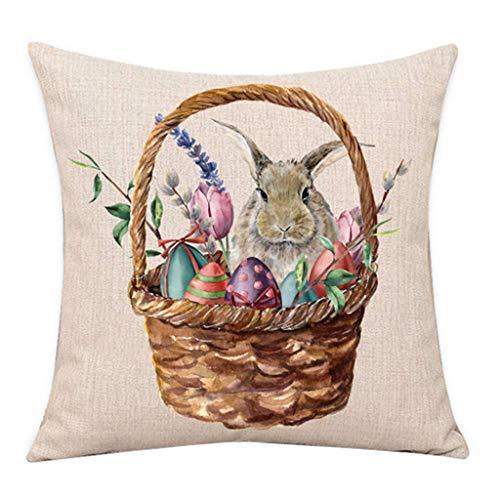 1 stücke Kissenhülle Dekokissen Ostern Kaninchen Eier Dekokissen Deckt Neue Frühlingsblumen Baum Wohnkultur URIBAKY