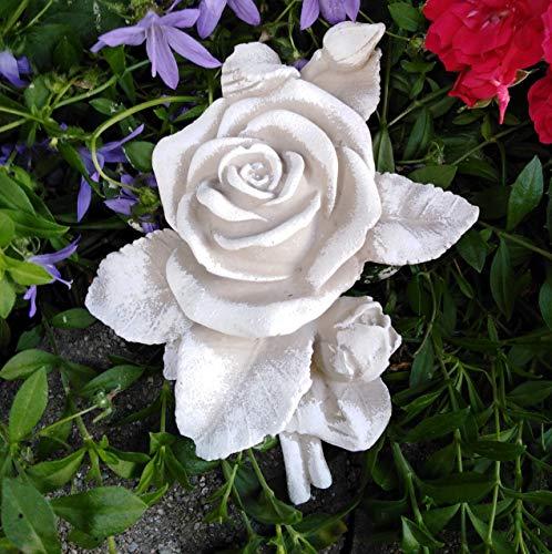 XL Rose mit Stiel Rosenblüte auch Grabdekoration Grabschmuck Rosenbouquet Steinguss 13cm grau Patina weiß