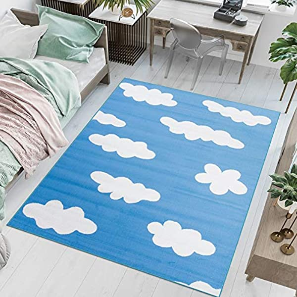 blue 100 x 150 cm LIVONE Childrens Bedroom Rug Cloud Stars in Blue//White
