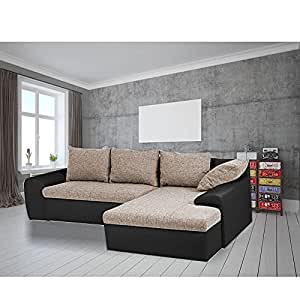Casaliving Jambo 5 Seater RHS L Shape Sofa L Type Sofa Set for Drawing Room (Beige Fabric - Black Leatherette)