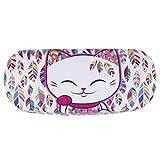 Etui à lunettes rigide chat porte bonheur Mani the Lucky Cat blanc feuilles colorées