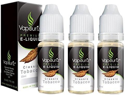 Vapouriz Premium E Liquid x3 10ml (TRIPPLE PACK) Zero 0% Nicotine (Classic Tobacco)