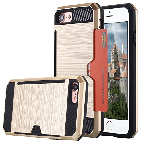 iPhone 7cellulare, iPhone 7Case, lontect Dual Layer Hybrid armatura robusta plastica cover rigida flessibile TPU Sospensioni auto Schutzhülle per Apple iPhone 7 oro