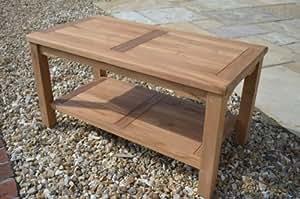 Malmesbury- Solid Teak - 90x45cm Rectangular Coffee Table with Shelf