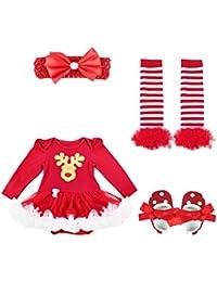 TiaoBug Bébé Fille Vêtement de Noël Déguisement Body Combinaison Barboteuse  Tutu à Pois Robe à Manches 5dfbdb26fdc