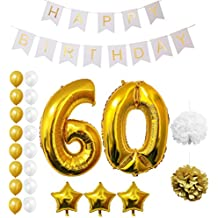 Globos Cumpleaños Happy Birthday #60, Suministros y Decoración por Belle Vous - Set 23 Piezas - Globo Grande Aluminio de 30,5cm 60 Años - Globos De Látex Dorado y Blanco - Para Adultos