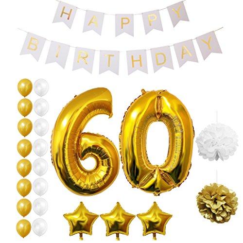 Palloncini, accessori, decorazioni festa compleanno 60 anni da belle vous - set 23 pezzi- grande palloncino foil 60esimo anno - decorazioni palloncini lattice oro e bianco 30cm- per adulti