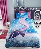 uarehome Kids Polycotton Uni Gefärbt Spannbetttuch und Bettwäsche-Sets mit Kissen Fall (Meerjungfrau, Bettdecke Set)