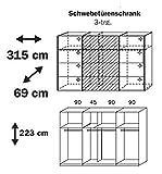 Kleiderschrank »BELUGA PLUS« 315cm alpinweiß, Hochglanz weiß, Spiegel 223cm