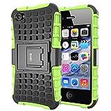 iDoer Coque iPhone 4 Armor Support Protection Étui Apple iPhone 4S Case Housse Etui Bumper Antichoc Cas Incassable Coque pour iPhone 4 4S (vert)