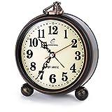 Retro Antike Design Europäische Stil Dekorative Mantel Uhr Stumm Stille Ruhige Quarzwerk Metallrahmen Schreibtisch Tisch Wecker (schwarz ball)