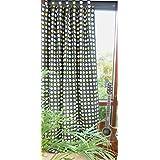 Gardine BLICKDICHT Vorhang Schlaufenschal schwarz HxB 260x140 cm KÜRZBAR mit Punkten in grün oliv TOP QUALITÄT ...auspacken, aufhängen, fertig! Typ180