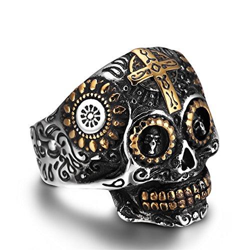 Aumret halloween cranio in acciaio inox simulato argento in acciaio inox titanio croce in acciaio (9)