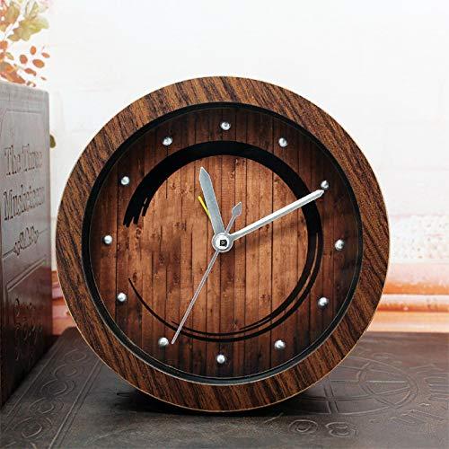 Despertador de madera nostálgico retro reloj de escritorio perezoso reloj zen sentado reloj de meditación...
