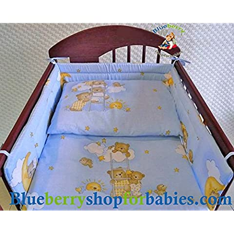 blueberryshop 3piezas para cuna de bebé Bundle cama de matrimonio juego de funda de edredón + Fundas de Almohada + Protector Cuna (35,5