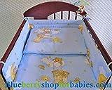 Blueberryshop Housses de couette, oreiller et bord de lit pour lit bébé, Bleu Ours sur Échelle, 3pièces