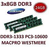 3x 8GB DDR3 1333Mhz PC3-10600R 240pin, ECC, Dual Rank, 1.5V, CL9