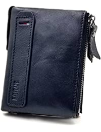 Girl Mens' Wallet RFID Blocking Genuine Leather Credit Card Holder Wallet/Large Zip Coin Pocket Purse