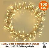 Lichterkette 100 LED Warmweiß Innen Energien betriebene LED feenhafte Lichter