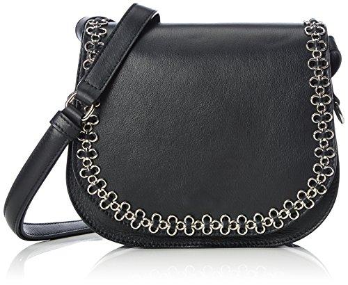 kaviar gauche Damen Petite Bag w.Flower Chain Umhängetaschen, Schwarz (Black/Silver), 22x20x6 cm