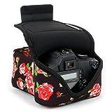 USA Gear Kameratasche für Spiegelreflexkameras: Kamera-Schutzhülle aus hochwertigem Neopren für DSLR/SLR, Blumen-Muster & Zubehörtasche, Kompatibel mit Canon EOS 1300D/200D, Nikon D3400 & mehr