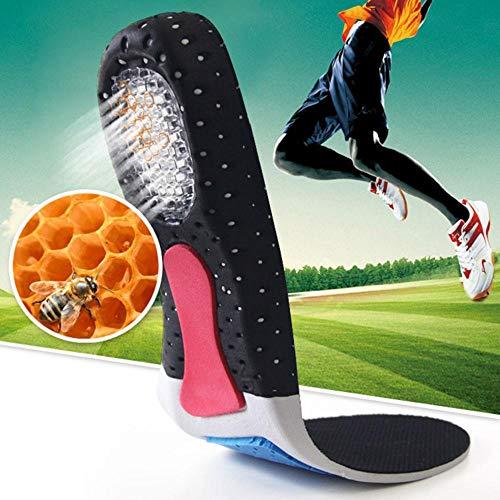 Pawaca Einlegesohle, abschneidbar, atmungsaktiv, stoßdämpfend, Gel-Einlegesohlen, Fußgewölbeunterstützung, orthopädisch, Feste Schaumstoff-Schuheinlagen für Walking, Laufen, Wandern, Unisex, 41-45