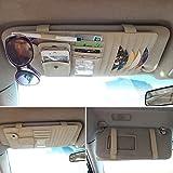 CareyNoce Auto Mehrzweck Sonnenblende Aufbewahrungstasche,CD-Halter,Brillenfassungen,Stifthalter,Karten-tasche , Handy-tasche -- (Beige)