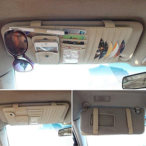CareyNoce Auto Mehrzweck Sonnenblende Aufbewahrungstasche,CD-Halter,Brillenfassungen,Stifthalter,Karten-Tasche, Handy-Tasche - (Beige)