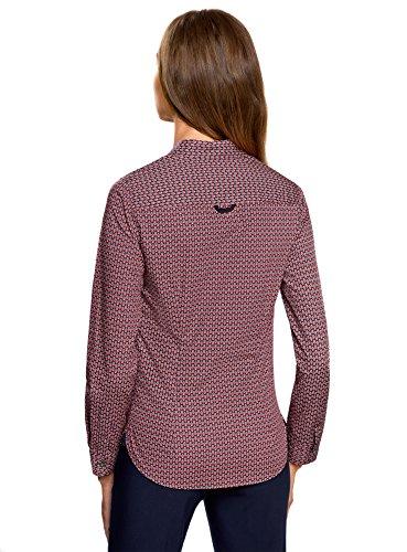 oodji Ultra Damen Baumwoll-Hemd mit Druck Rot (7949G)