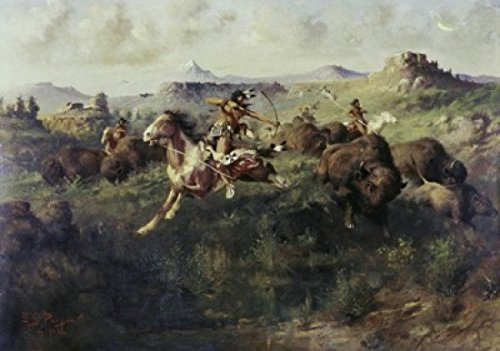 Edgar Samuel Paxson - Buffalo Hunt Edgar Samuel Paxson (1852-1919 American) Poster Drucken (45,72 x 60,96 cm) -