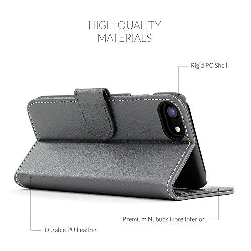 Cover iPhone 7 and 8, Snugg Apple iPhone 7 and 8 Flip Custodia Case [Slot Per Schede] Pelle Portafoglio Progettazione Esecutiva [Garantita a Vita] - Shark Skin Grey, Legacy Range Grigio