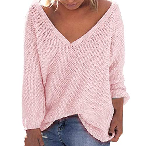 Frauen Sweatshirt Teenager Mädchen Herbst Winter MYMYG lose Lange Ärmel V-Ausschnitt V-Ausschnitt Pullover Bluse(Rosa,EU:42/CN-2XL)