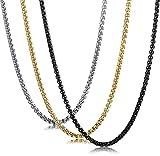 sailimue 3Pcs 3MM Collar de Cadena de Caja de Acero Inoxidable para Hombres Collar de Cadena de Cadena rolo Cadena de Venecia de los Hombres 66CM