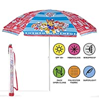PERLETTI Paw Patrol Beach Umbrella - Windproof Garden Patio Sun Umbrella for Kids - Diameter 125 cm - Red and Blue - Parasol with UV Protection 50+