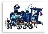 Kinderposter von Eva Maria Ott-Heidmann - Lokomotive SCHNUFF - aus