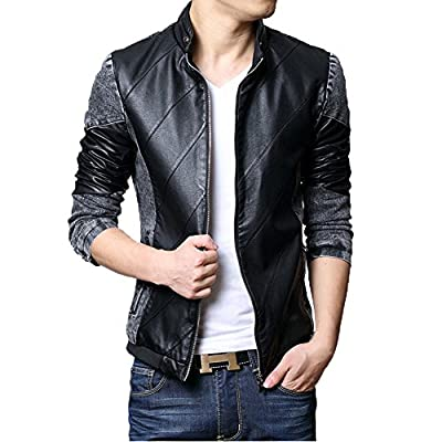 Zicac New Mens Spring Summer Fashion Zip Up Washed Denim Jacket Biker PU Leather Splice Slim Jeans Biker Jacket Coat Outerwear