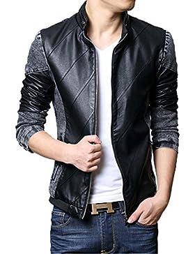 Zicac Nuevo para hombre Spring Summer Fashion Zip Up Washed Denim Chaqueta Motero Piel Sintética Splice Slim Jeans...