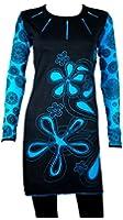 Wunderschönes Langarm Kleid mit Türkis Patchwork Floral Print und einzigartigen Stickereien - 100 % Baumwolle - CHIYO