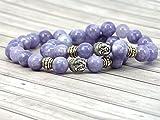 Braccialetto etnico di collegamento di Thurcolas di Zen nei perle del di quarzo blu e nella testa del Buddha