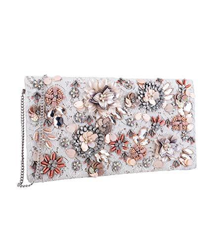 SIX Damen Handtasche, Clutch aus Ivory Spitzer mit floralem Muster Bestickt aus Perlen und Pailetten in rosa, grau und beige (726-760)