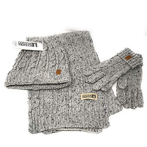 Coronel Tapiocca Set aus Handschuh, Schal und Mütze für Damen. 3-Teiliges Set. Verschiedenen Farben. Acryl + Wolle (Grau)