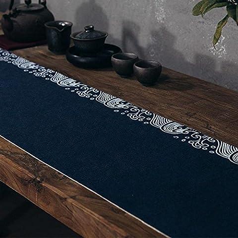 LINDA?Napperons Chemins De Table Ramie Japonais Cérémonie Du Thé Plante Fleurs Table En Toile Nappe?BLUE?100X30