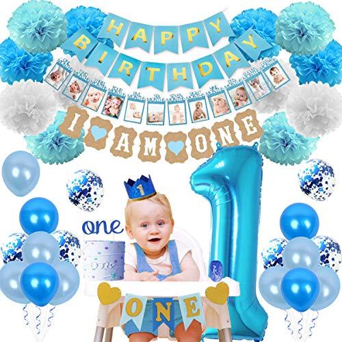 JOYMEMO 1st Geburtstag Dekorationen Kit für Jungen mit ich Bin EIN Banner, Hochstuhl Banner, Folienballon und Foto Garland
