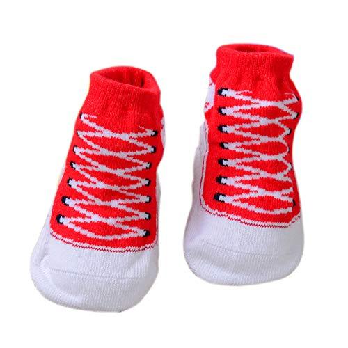 Fablcrew Babysocken für Kinder und Neugeborene, Rutschfeste Socken aus Contton, warm und komfortabel 0-6 MESI Bambino rot