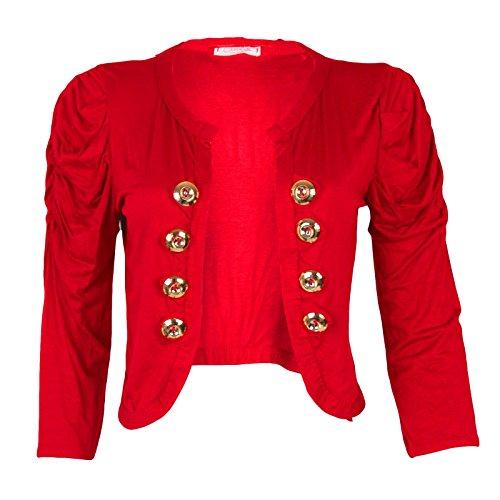 Nouveau femmes ruché épaules 8Button Blazer Crop Top haussement d'épaules veste Rouge