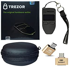 Trezor hardware Wallet per Bitcoin, Bitcoin Cash, Dash, litecoin, zcash, ethereum Set con cavo OTG per dispositivi Android–Nero