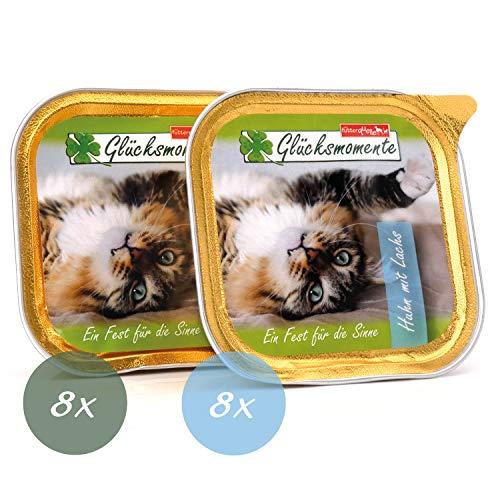 die futterquelle Katzenfutter Nass I 16 x 100g Nassfutter in Verschiedenen Geschmacksrichtungen I Getreidefreies Katzenfutter I Katzennahrung mit hohem Fleischanteil (Huhn & Kaninchen)